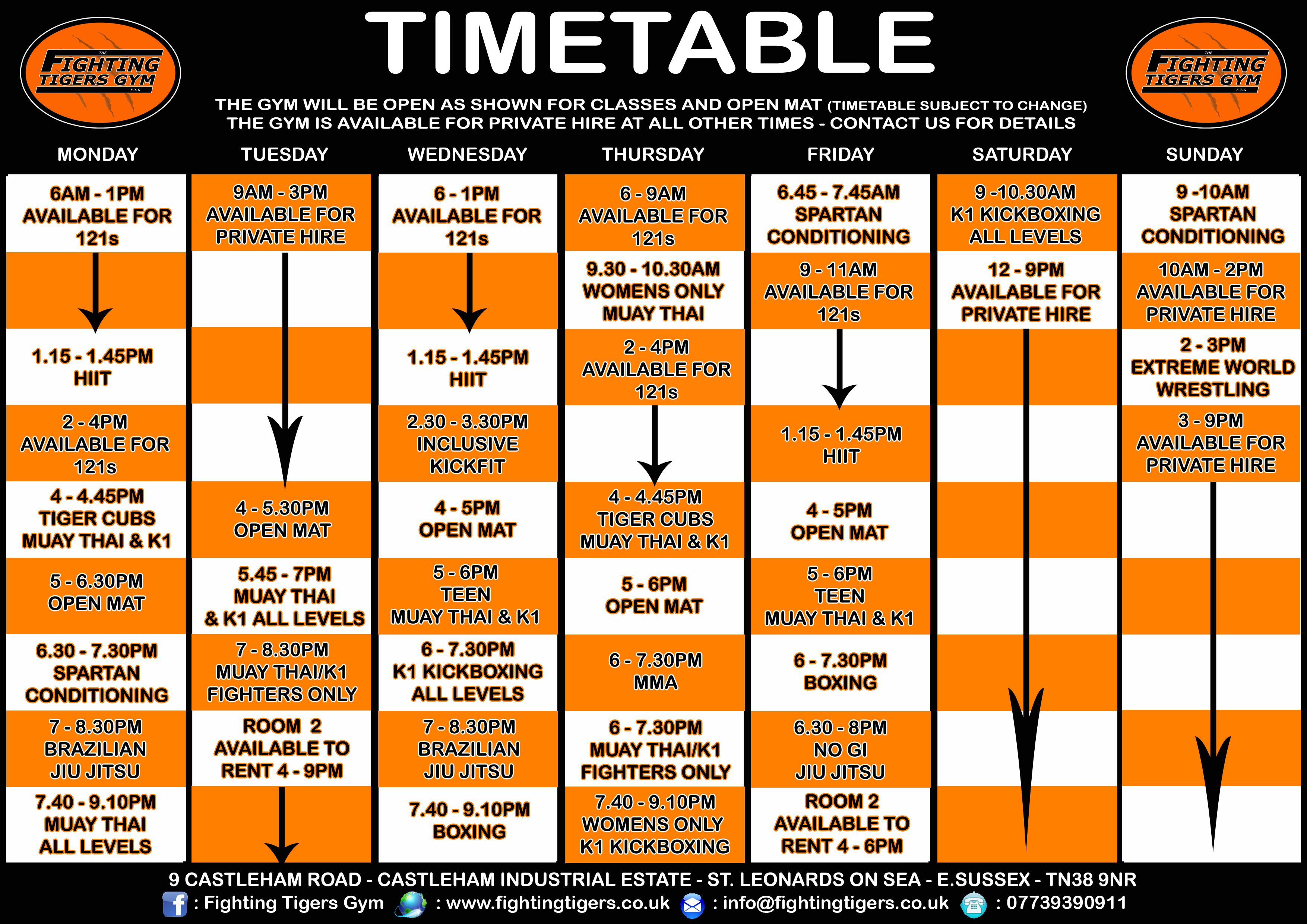 TIMETABLE JAN 2017